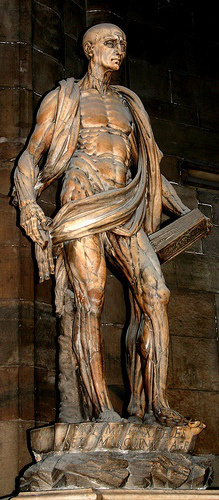 St Bartholomew flayed and carrying his own skin; Marco d'Argrate, Bronze; Milan Duomo (1562).