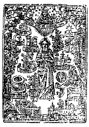Virgin Mary with signs and symbols from Canticles from 1552 'Book of Common Prayer'